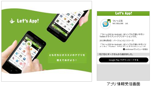 Let's App アプリ情報受信画面